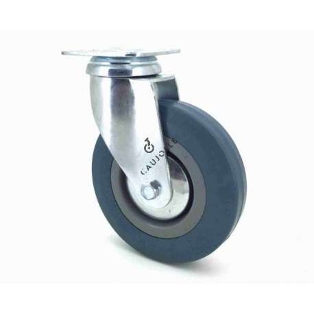 Castor wheel for industrial furniture 125 mm diameter with plate 1