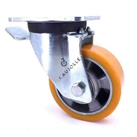 Swivel castor wheel polyurethane aluminium rim with brake 125 mm diameter load 350KG - S76AR 125AF