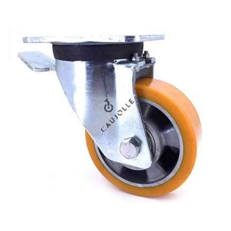 Swivel castor wheel polyurethane aluminium rim with brake 125 mm diameter load 450KG - S78AR 125AF
