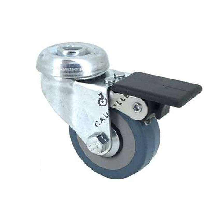 Castor wheel for industrial furniture 50 mm diameter with eye and brake 1
