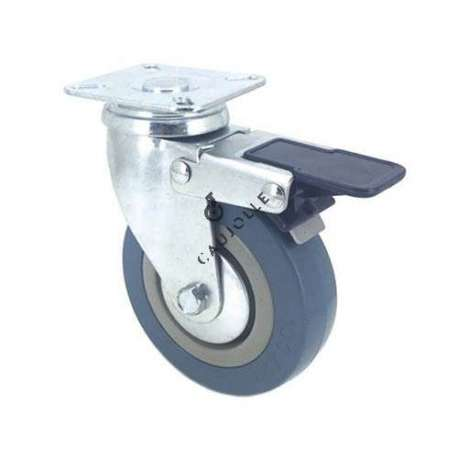 Castor wheel for industrial furniture 100 mm diameter with plate and brake 1