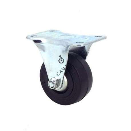 Industrial black rubber castor wheel 50 mm diameter with fixed plate 1