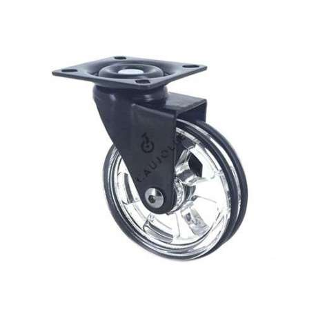 Transparent black designer castor wheel 75 mm diameter swivel plate 1