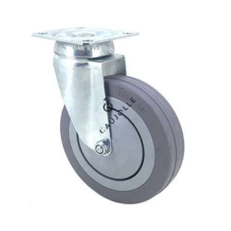 Industrial castor wheel with plate in non-marking rubber 125 mm diameter 1