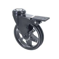 ALUMINIUM DESIGNER CASTOR WHEEL EYE WITH BRAKE BLACK'STYL 100 MM DIAMETER