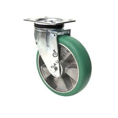 SWIVEL CASTER IN SUPPLE POLYURETHANE DIAMETER 200 MM MAX LOAD 500 KG - S76V200P