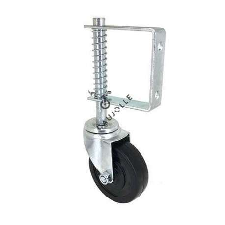 Door castor wheel with spring suspension 100 mm diameter adjustable height 1