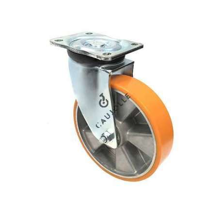 Swivel castor wheel polyurethane aluminium rim with brake 200 mm diameter load 800KG - S78AR 200