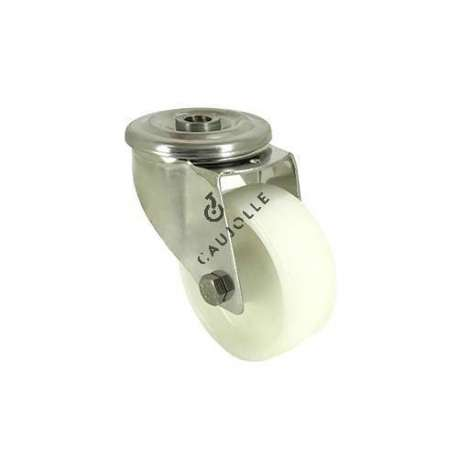Swivel castor wheel STAINLESS STEEL 80 mm diameter nylon