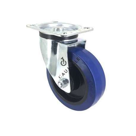 Industrial usage castor wheel swivel 100 mm diameter blue rubber S2NS