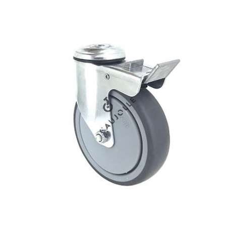 INDUSTRIAL CASTOR WHEEL SWIVEL EYE WITH BRAKE S15 125 MM DIAMETER